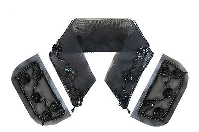 Black Beaded Sequins Pocket Collar Accessory for Blouse Blazer DIY Sewing