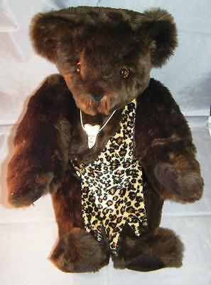 """WILD 4 YOU Authentic Vermont Jointed Teddy Bear Chocolate Dark Brown 16"""" + Acc"""