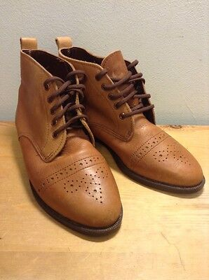 ORIGINAL vintage Tan girls / Ladies shoes by jen leather tops size 2 (h5)