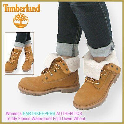 bf622441f5f WOMENS TIMBERLAND TEDDY Fleece Waterproof Fold Down Boots Wheat 8329R NEW