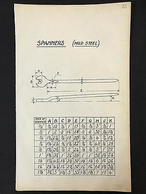 Harland & Wolff, Belfast -1930's Engineering Drawing, SPANNERS (P25)