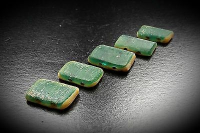Ancient Egyptian Square Two Tone Glass Necklace 5 Bead Group circa 664 - 525 BC