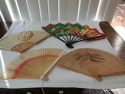 Vintage Hand Held Fans lot of 4