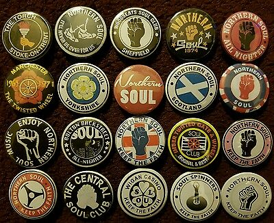 Northern Soul Wigan Casino Button Badges x 20 (SET 2). Pins Wholesale Bargain.