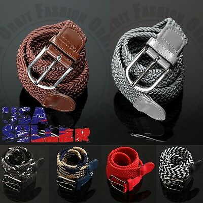 Men's Elastic Canvas Woven Webbing Stretch Belt Waistband Metal Buckle Strap