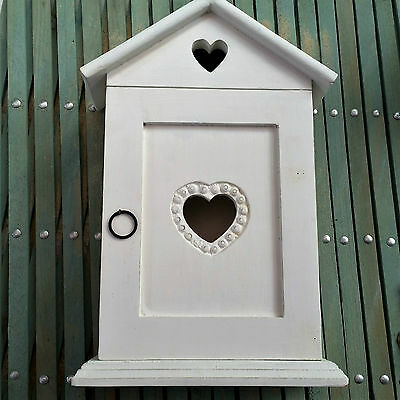 Shabby Wooden Chic Heart House Key Cupboard Box Cabinet White