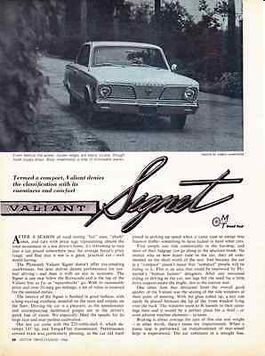 1966 Plymouth Valiant Signet 225/145 Hp ~ Orig 3-Page Road Test / Article / Ad