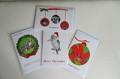 Australian Christmas Cards Pkt of 4 Assorted