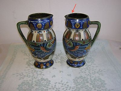 Pair of Antique Gouda Pottery Jugs ca.1915-20 22.5 cm high, Liberty & Co?