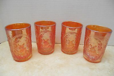 Vtg. Imperial Carnival Glass Tumblers Windmill Pattern Lot Of 4 Marigold