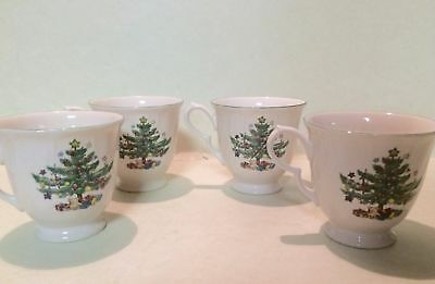 Happy Holiday Nikko Japan Porcelain Christmas Tree Cups Mug Set of 4