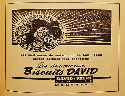 Biscuits David - Cookie Ad -Vintage 1940's French Advertising - Montreal Quebec