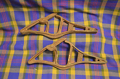 Antique Set Cast Iron Extension Ladder Brackets Pat'd 2/1918 Steampunk Primitive