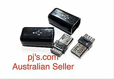 Micro USB Male Plug Connectors With Covers Electronics DIY x 2
