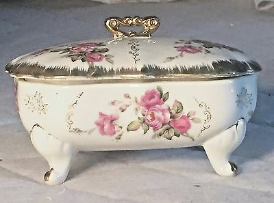 Vintage/antique 4 Footed Porcelain Candy Dish With Lid