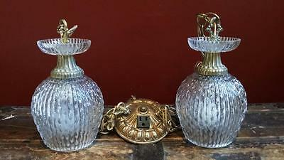 Vintage Antique 2 Chain Hollywood Regency Glass Lamp Light Pendant Chandelier