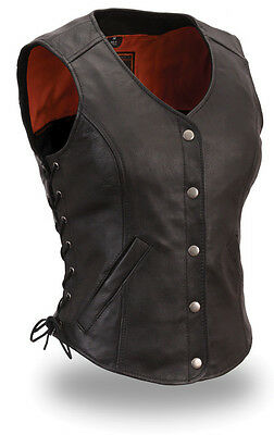First Mfg Ladies Side lace Classic Leather Motorcycle Vest 2xlarge FIL546CSL-XXL