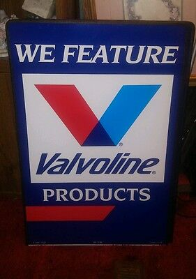 """NEW We Feature Valvoline metal double sided sign 24"""" x 35.5"""" runner edge"""