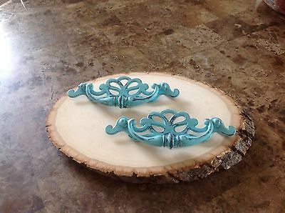361 Vintage French Provincial  Swing Pulls In A Lovely Turquoise Wash Set 2