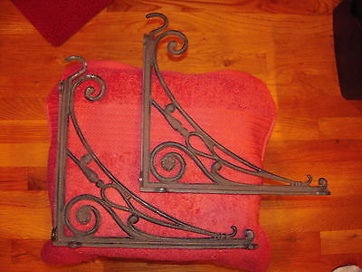 Vintage Pair of Cast Iron Brackets