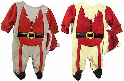 Babies Luxury Santa Suit Novelty Christmas Babygro / All in One with Hat