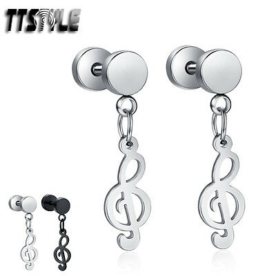TTstyle Surgical Steel Music Note Dangle Earrings Silver/Black A Pair NEW