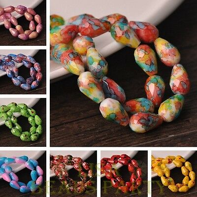 30~50pcs 8X12mm 10X15mm Teardrop Colorful Faceted Loose Glass Spacer Beads Lot