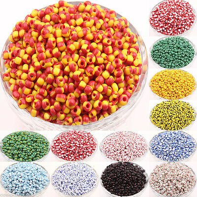 100 Pcs Colorful Round Czech Glass Spacer Loose Charm Beads Jewelry Making 4x3MM