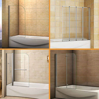 Aica Pivot / Folding / Hinge Bath Screen Shower Door Panel 1400mm Glass & Seal