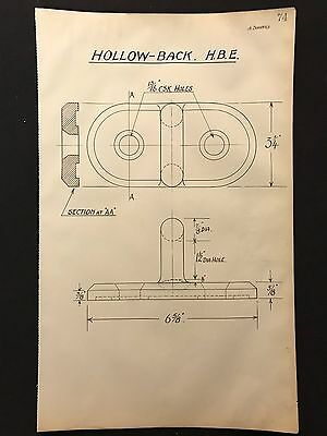 Harland & Wolff, Belfast -1930's Engineering Drawing HOLLOW-BACK H.B.E. (P74)