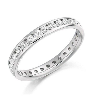 RRP £2000 1.00Ct Round Diamond Channel Set Full Eternity Ring in White Gold
