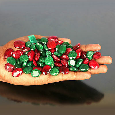 100.00 Ct NATURAL PRECIOUS LOOSE RUBY & EMERALD GEMSTONES LOT ~ FOR JEWELLERY