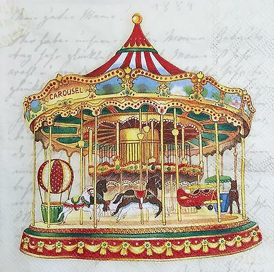 2 single paper napkin decoupage scrapbooking craft collection Serviette Carousel