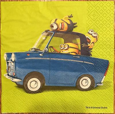 NEW! 2 single paper napkin decoupage collection Minions in the car Despicable Me