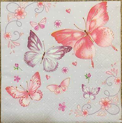 2 single paper napkins for decoupage scrapbooking crafts or collection butterfly