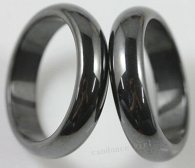 Wholesale 10/20Pcs Charms Black Magnetic Hematite Magnet Ring Jewelry Findings