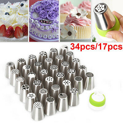 34/17x Russian Icing Piping Nozzles Cake Decorating Cupcake Tips Pastry Tool Set