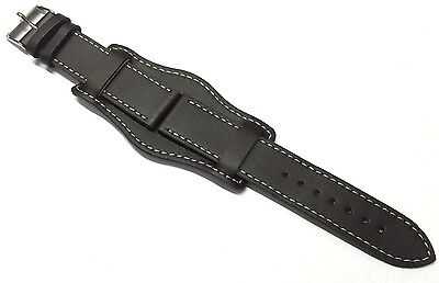 18mm 20mm 22mm 24mm BROWN MILITARY LEATHER 3 PIECE WATCH STRAP BAND CUFF & PINS