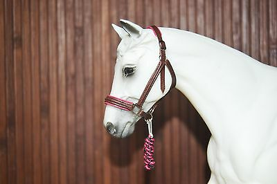 Padded Brown&Pink Leather Halter, Breyer Stone Model Horse,Traditional 1:9 size