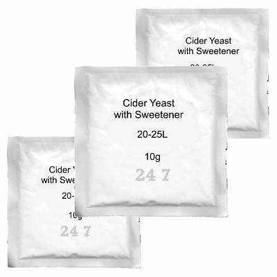 3x Cider Yeast with sweetener 8g 20-25L for Homebrew Cider making Perry Scrumpy