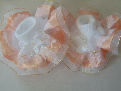 Girls Romany Bling School Dance Frilly Socks In Peach/gold~Wedding,party