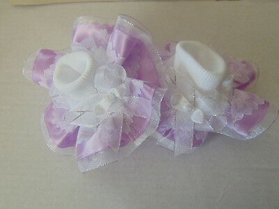 Girls Romany Bling School Party Frilly Socks In Lilac And Silver~Wedding,party
