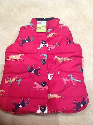 Joules Horse Print Pink Body Warmer Gilet Bnwt Age 6 (small Age 4)