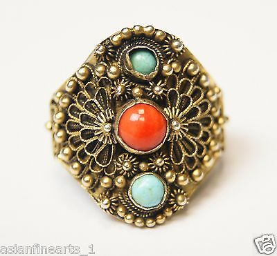 18th Century Vintage Old Antique Silver Multi Gem Stone Ring Size Adjustable 848