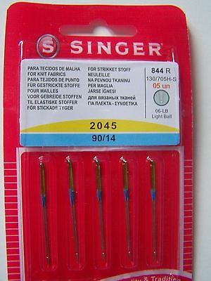 SINGER SEWING MACHINE NEEDLES 2045-PACK of 5 90/14 FOR KNIT FABRICS FREE P/P