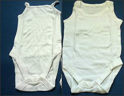 White Baby Strappy Sleeveless Bodysuit Vest Multi Packs NB, 0-1, 0-3, 6-9 Mth