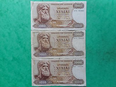 Greece 1000 Drachmes 1970 (Lot of 3 Banknotes)