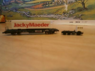 Rare Marklin Z Gauge Container Wagon With Lorry Cab
