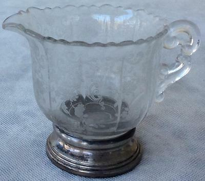 Vtg Sterling Silver & Etched Crystal Creamer cream pitcher Chantilly Cambridge