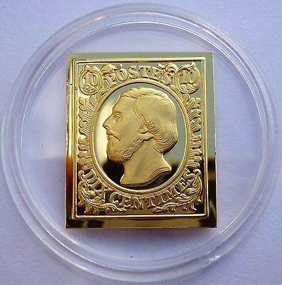 Luxembourg 10 Centimes Stamp 1852 Proof 24 K Gold Plated on Sterling Silver Rare